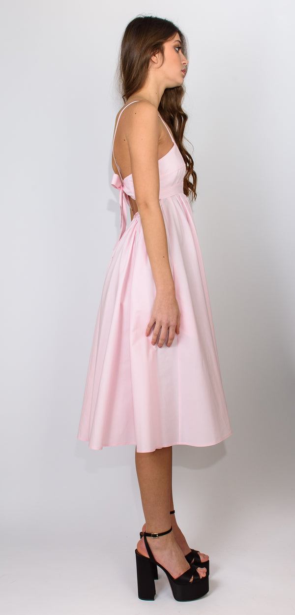 Philosophy di Lorenzo Serafini Pink cotton dress with bow on the back