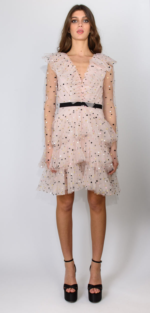 Philosophy di Lorenzo Serafini Flounced dot dress with transparent sleeves