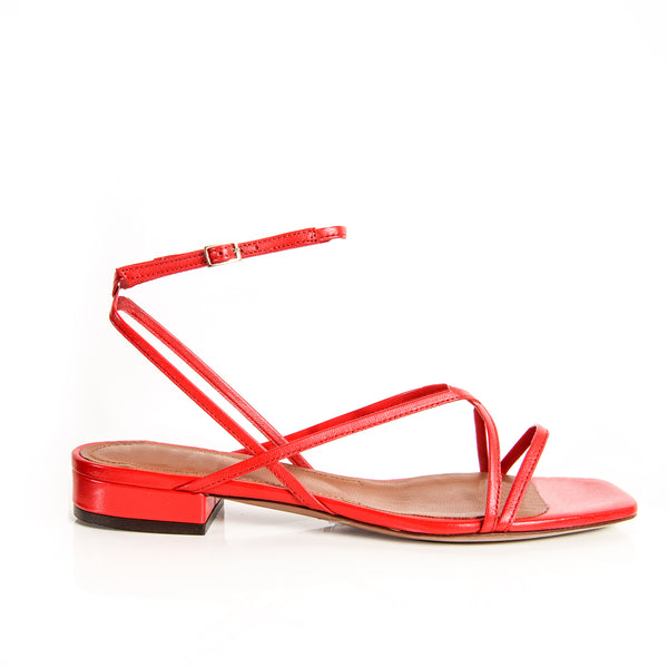 L'Autre Chose Red flat shoe with ankle strap