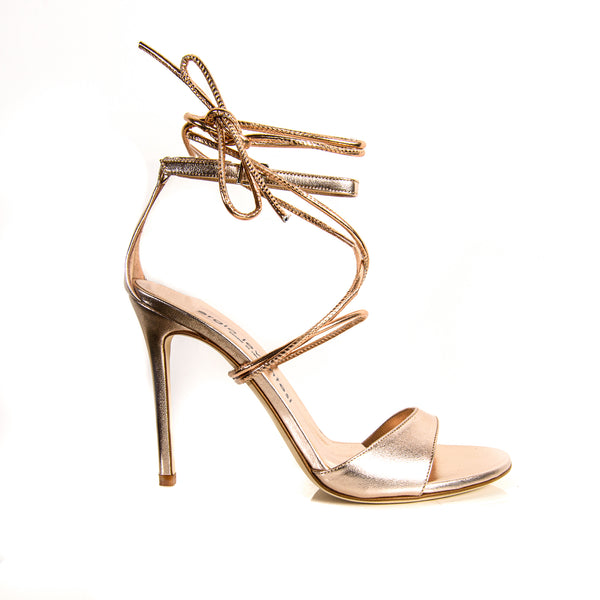 Sergio Levantesi Reggy rose gold laminated leather sandal with lace