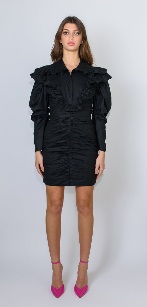 Philosophy di Lorenzo Serafini Black cotton dress with ruffles on the shoulders