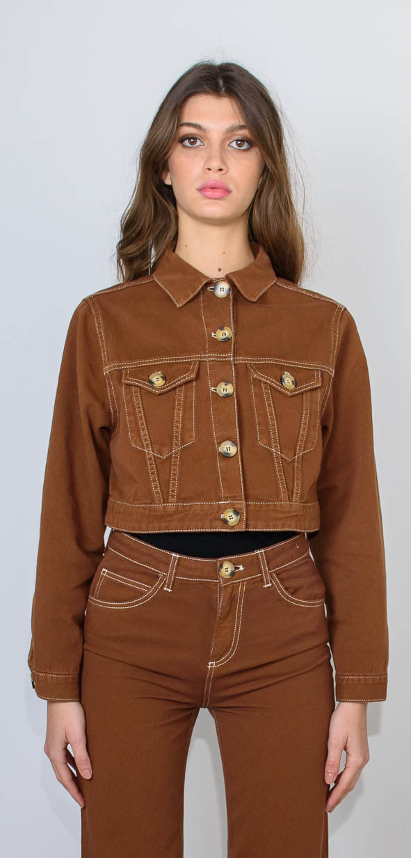 L'Autre Chose Crop tobacco cotton jacket