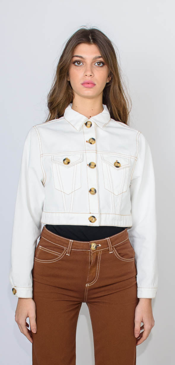 L'Autre Chose Crop white cotton jacket