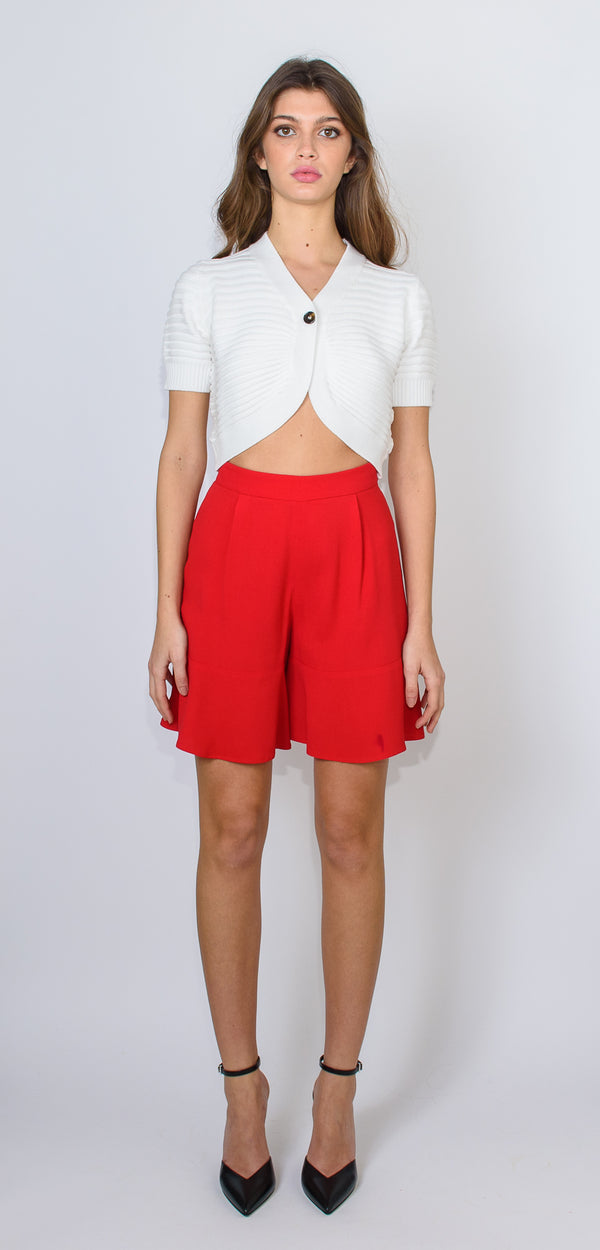 L'AUTRE CHOSE RED FLOUNCE SHORTS