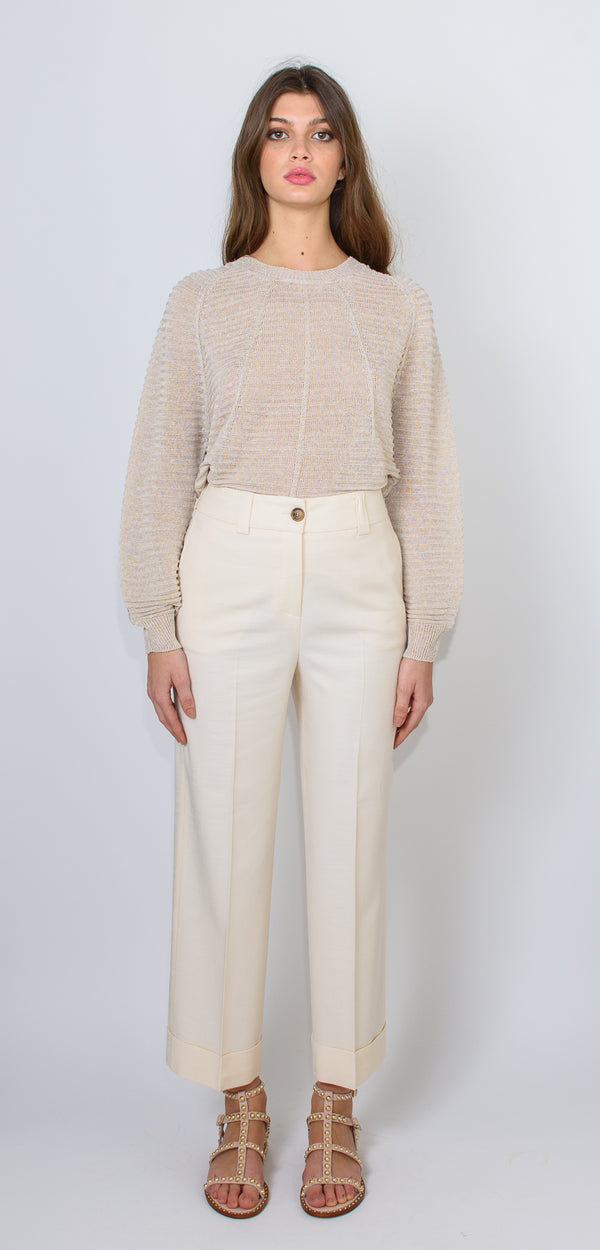 Cappellini by Peserico Slub fabric straight trousers