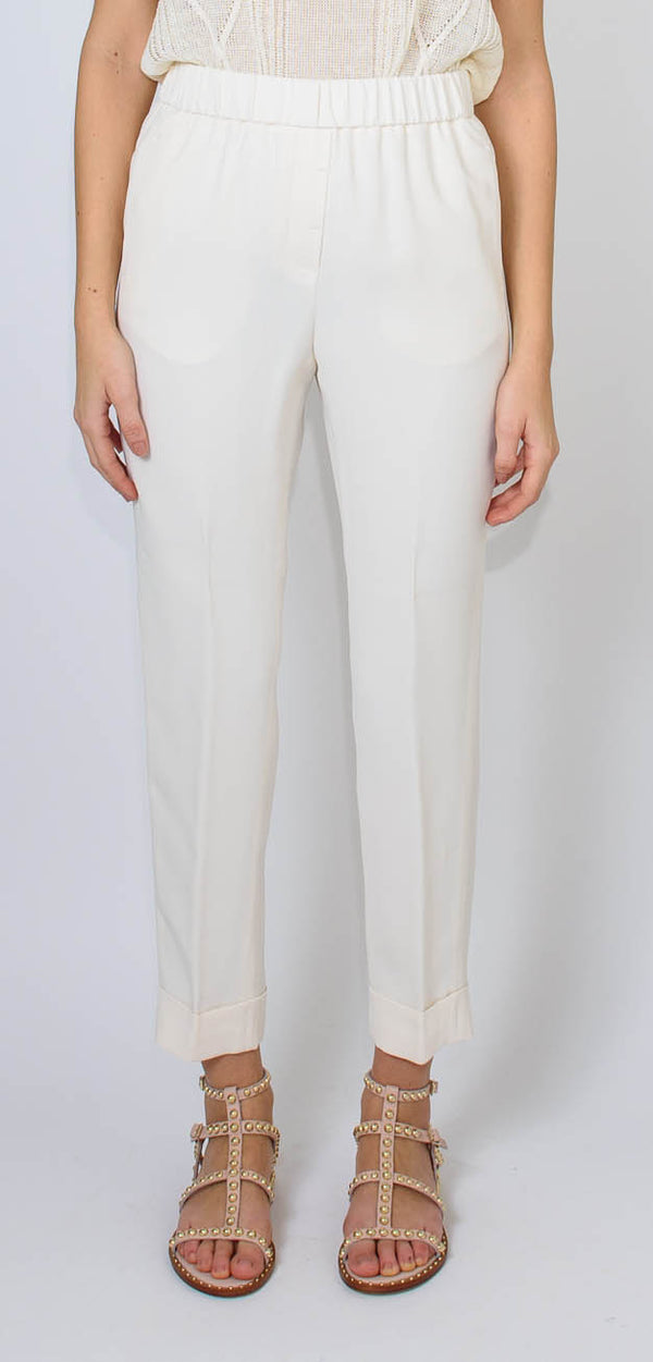 Cappellini by Peserico Cady crepe trousers with elastic waist