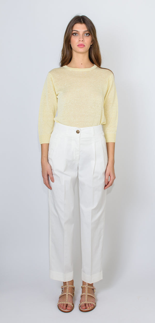 Cappellini by Peserico White stretch gabardine trousers with pinces