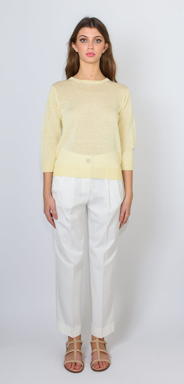 Cappellini by Peserico Pastel yellow round-neck shirt in flax