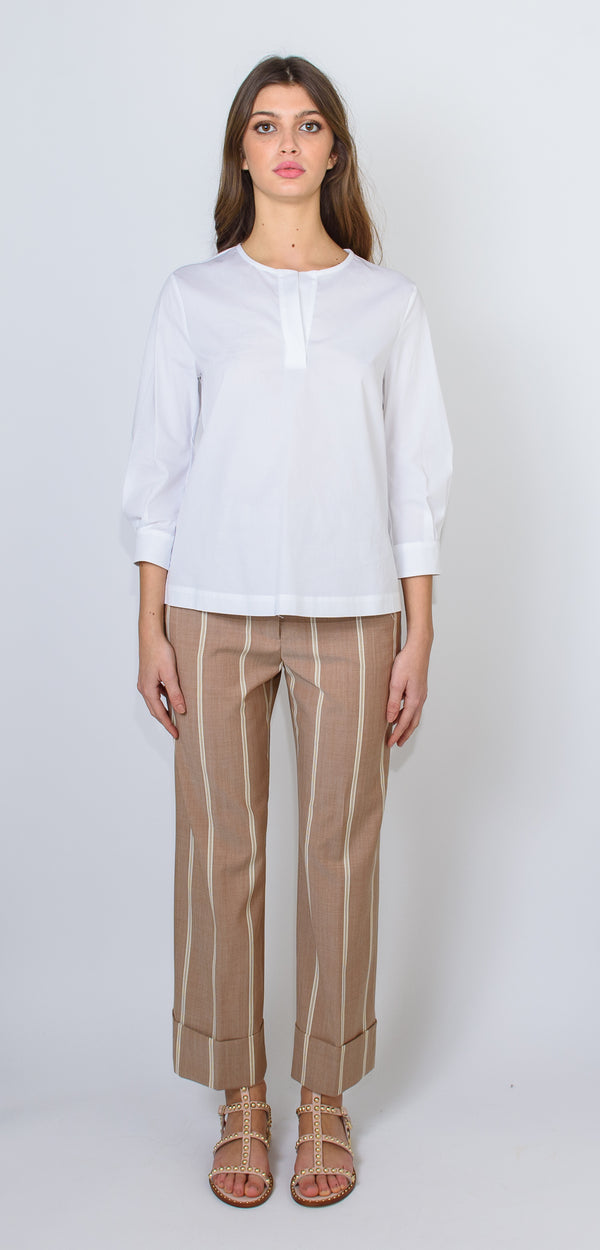 CAPPELLINI BY PESERICO WHITE ROUND-NECK SHIRT