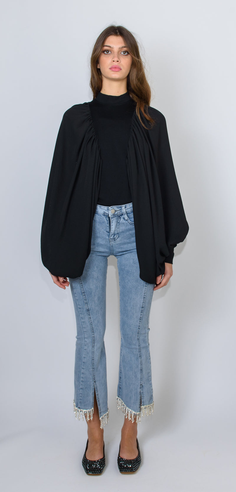 Odì Odì Black shirt with high collar and with oversized sleeves