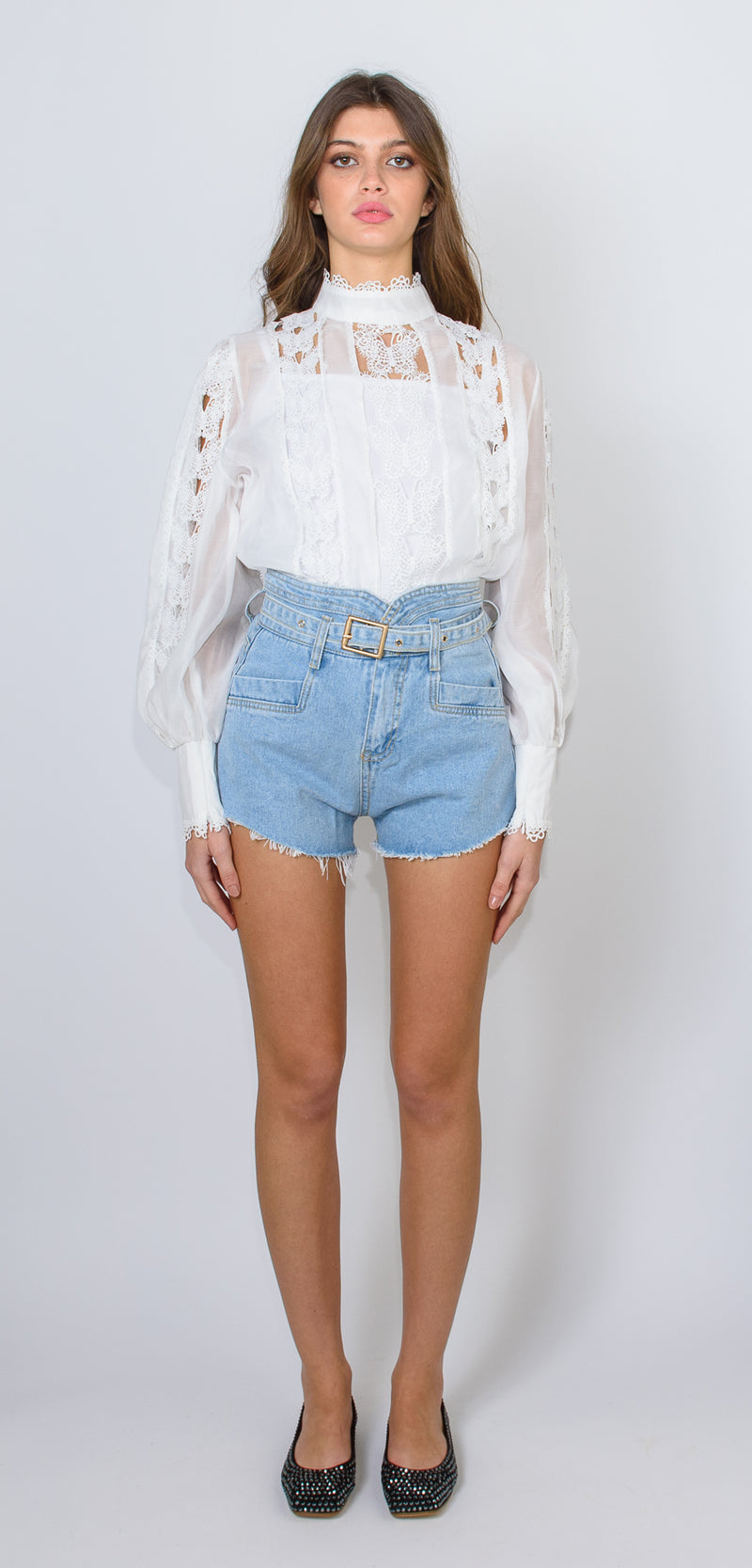 Odì Odì High-waisted denim shorts with belt