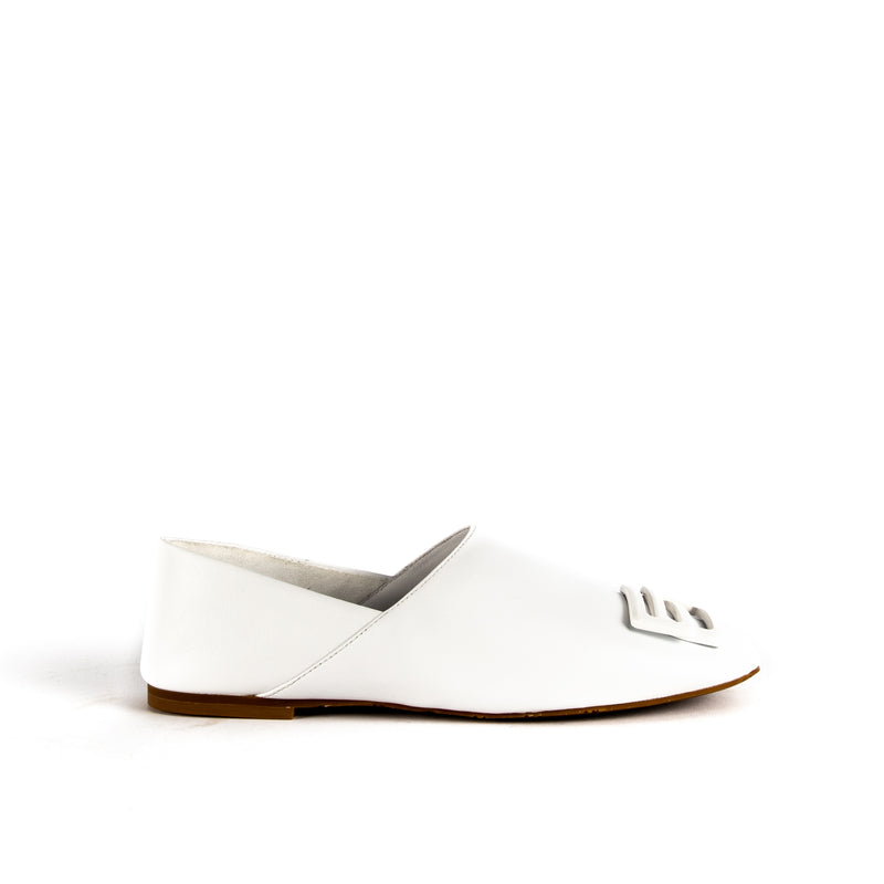 What For Paris Laiba white leather loafer