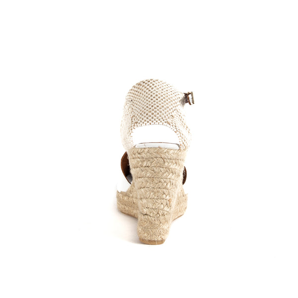 L'Autre Chose White wedge espadrillas with ankle strap
