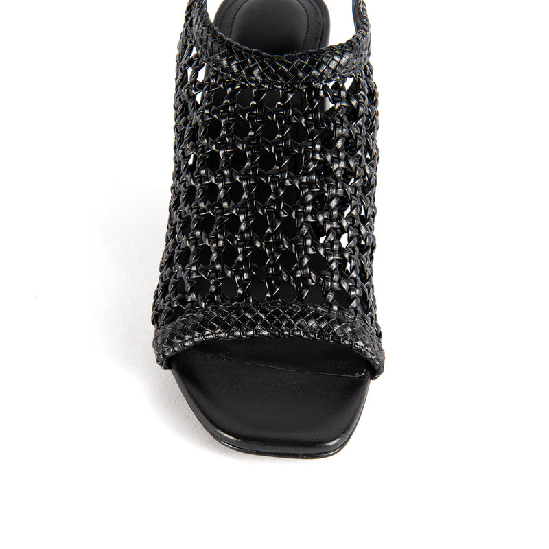 What For Paris Hada black braided leather sandal on mid square heel with ankle strap