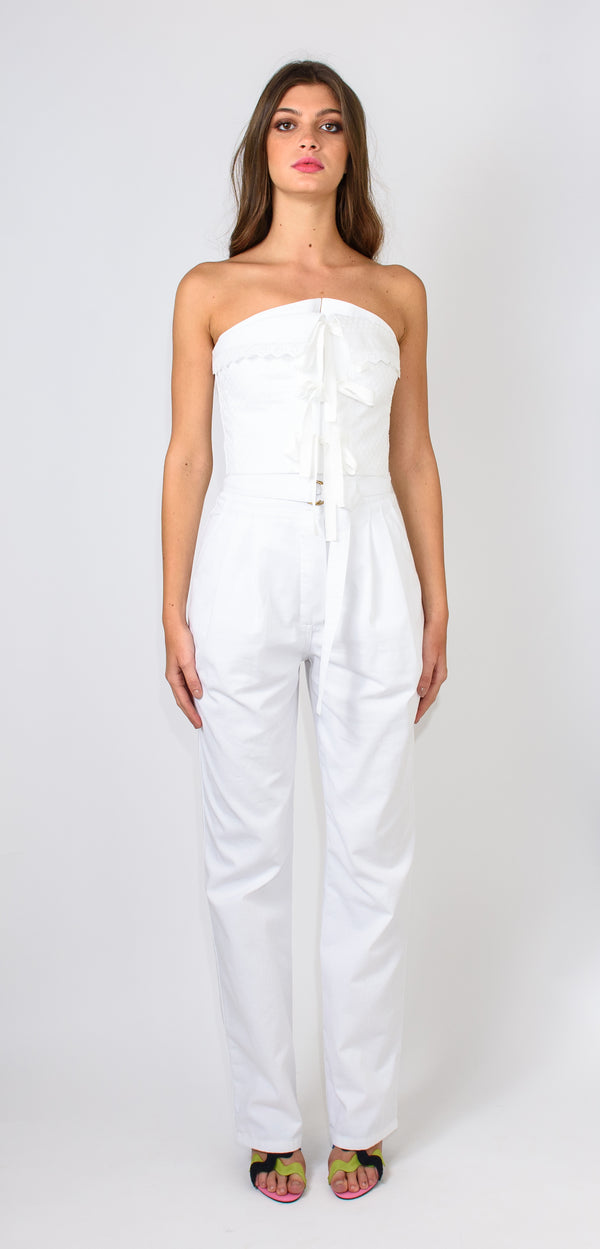 Philosophy di Lorenzo Serafini White top in cotton and sangallo with zip closure on the back