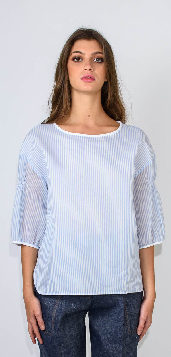 CAPPELLINI BY PESERICO WHITE AND BLUE SHIRT