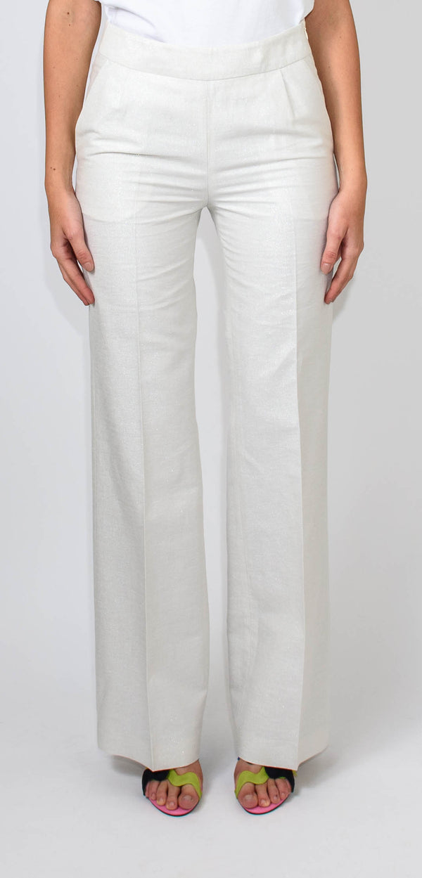 BRERAS MILANO HIGH-WAISTED WHITE TROUSERS