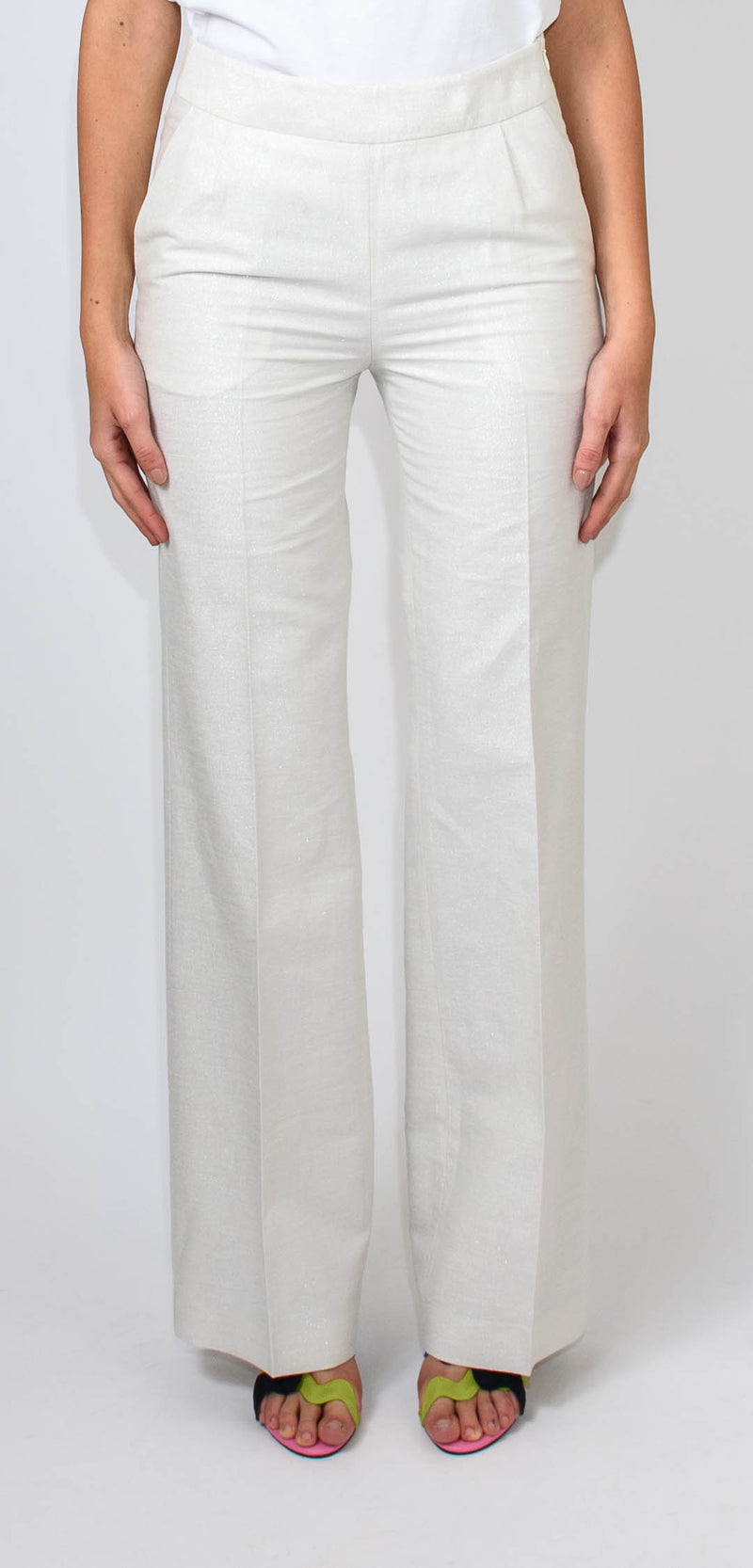 Breras Milano High-waisted white trousers with silver micro glitter