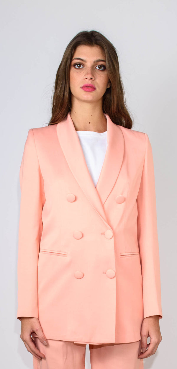 Breras Milano Long double-breasted salmon jacket