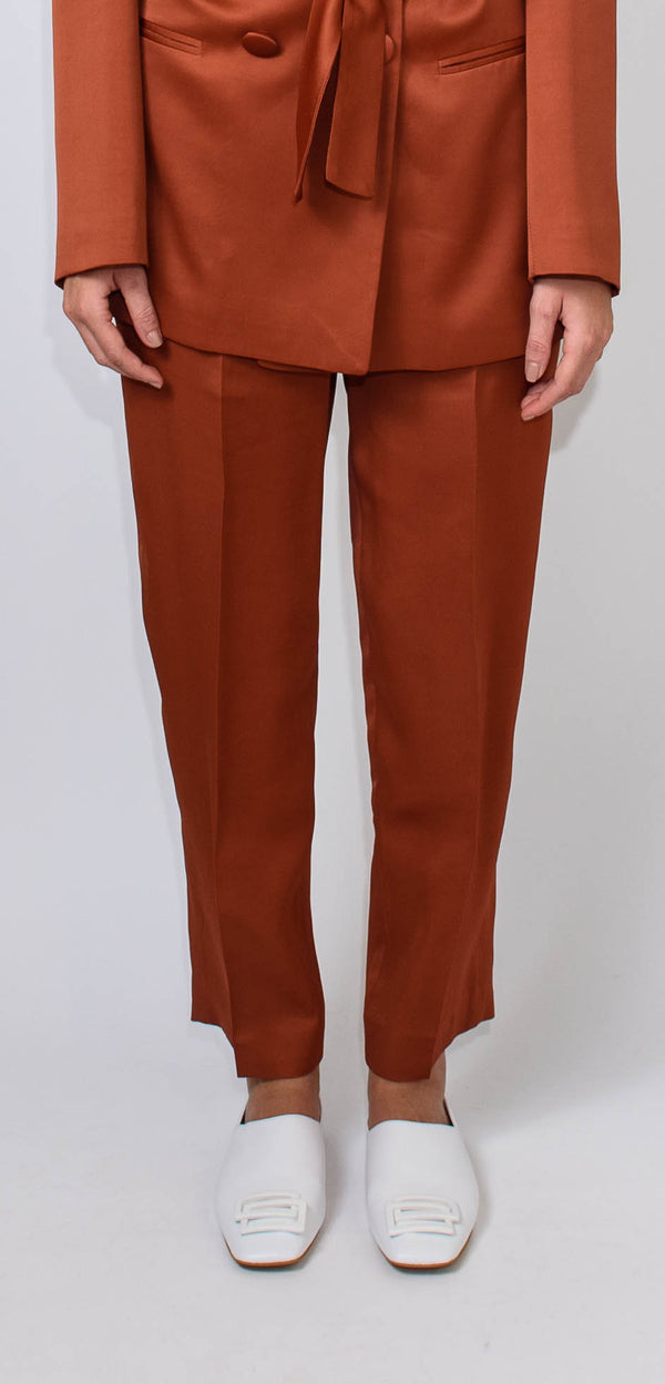 BRERAS MILANO HIGH-WAISTED BRICK-COLORED TROUSERS