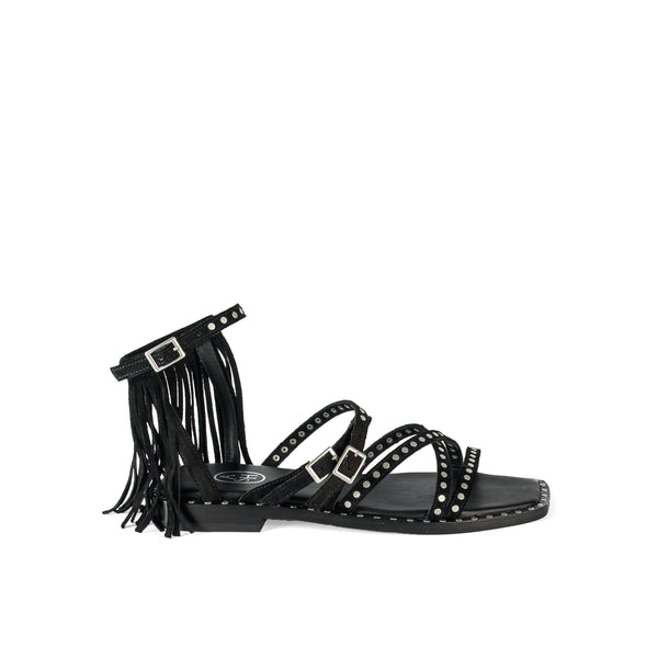 Ash Black leather flat sandal with fringes on the ankle strap