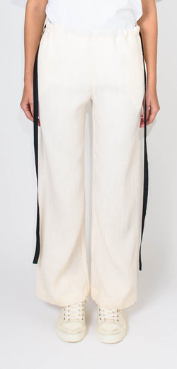 """VICTORIA"" VICTORIA BECKHAM PYJAMA STYLE TROUSERS - with black side laces"