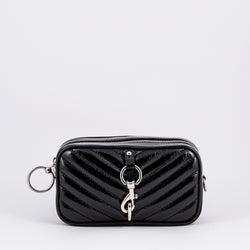 Rebecca Minkoff Camera black patent leather belt bag