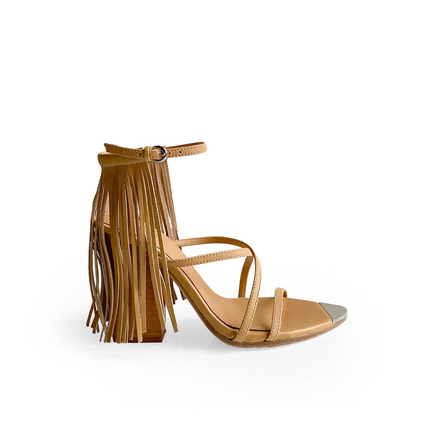ASH NUDE LEATHER SANDAL - with ankle strap with fringes