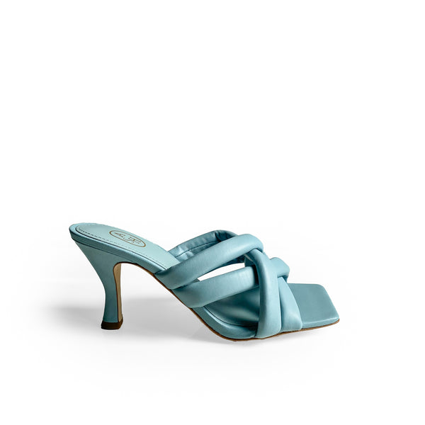 ASH LIGHT BLUE LEATHER SQUARE-TOE SANDAL - defined by the knotted bands