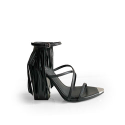 Ash Black leather sandal with ankle strap with fringes