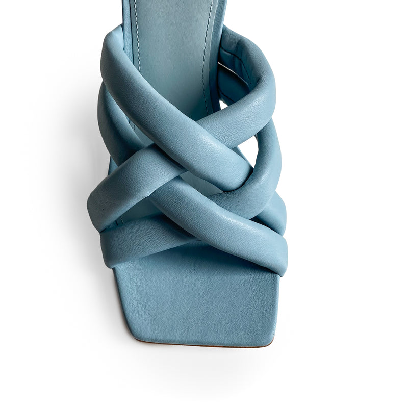 Ash Light blue leather square-toe sandal on mid heel defined by the knotted bands