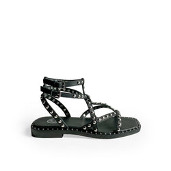 Ash Black leather flat sandal with double ankle strap and silver studs