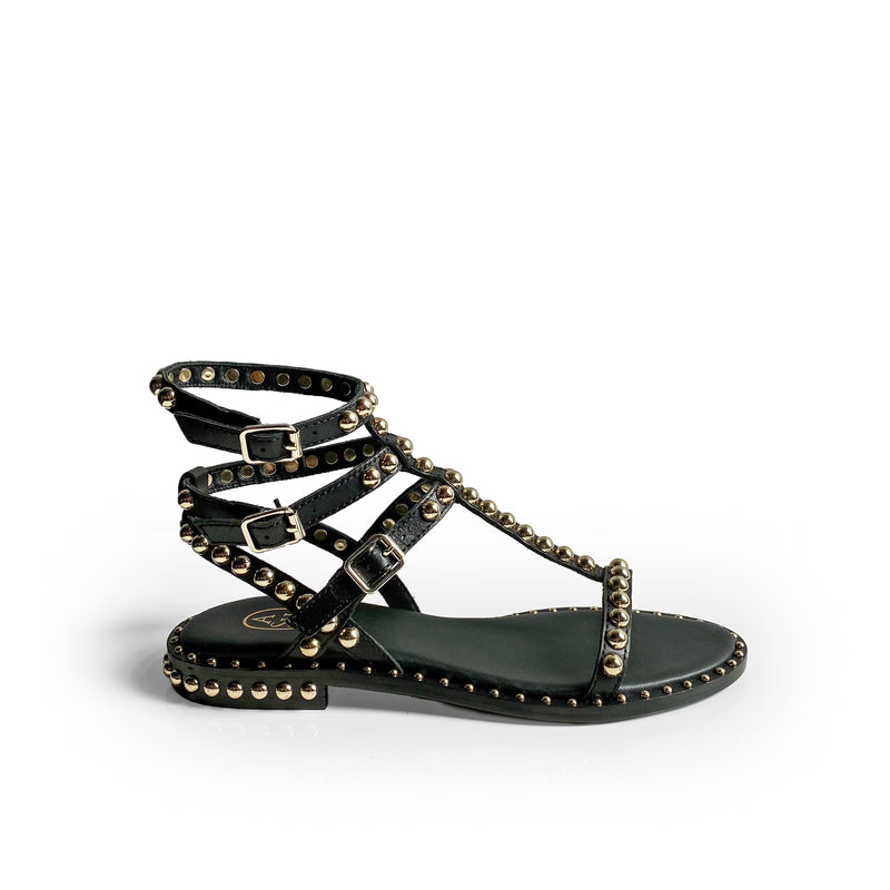 ASH PLAY BLACK FLAT SANDAL