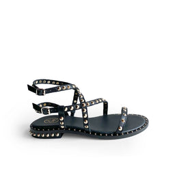Ash Black leather flat sandal with golden studs with double strap