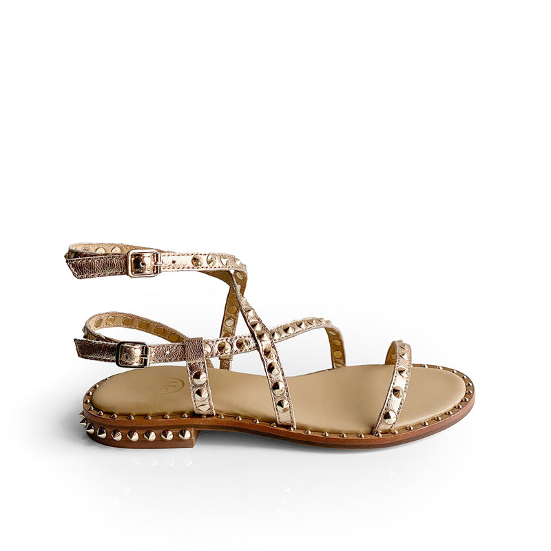 Ash Copper leather flat sandal with golden studs with double strap