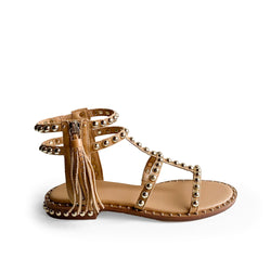 ASH NUDE LEATHER FLAT SANDAL - with side zipper