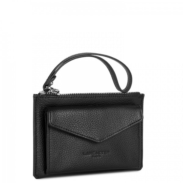 Lancaster Paris Black small clutch with zip closure