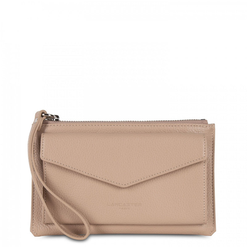 Lancaster Paris Nude petite pochette with zip closure