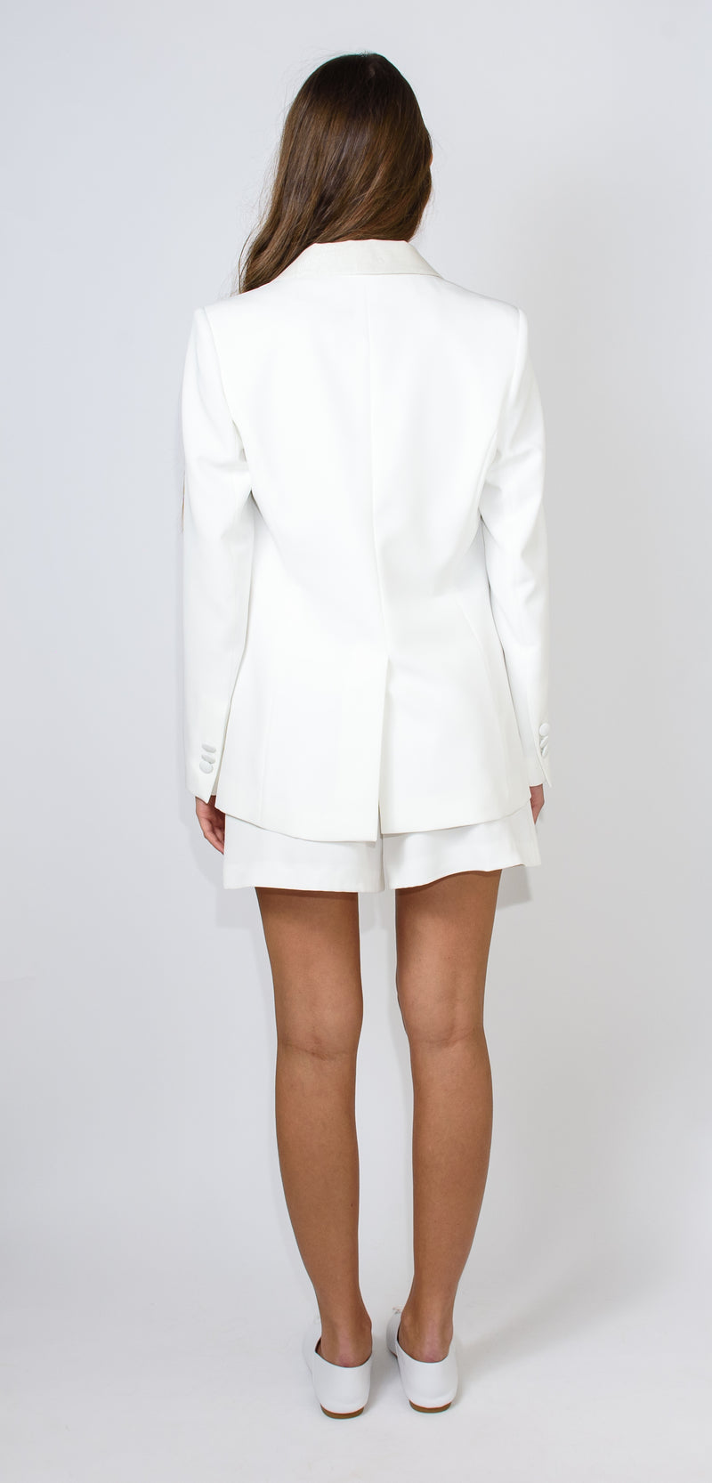 Breras Milano White jacket with a button and silver micro glitter on the collar
