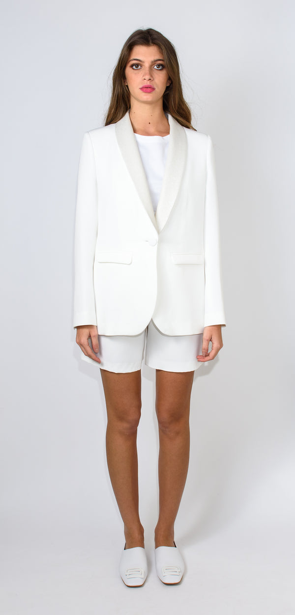 BRERAS MILANO WHITE JACKET - with button and glitter