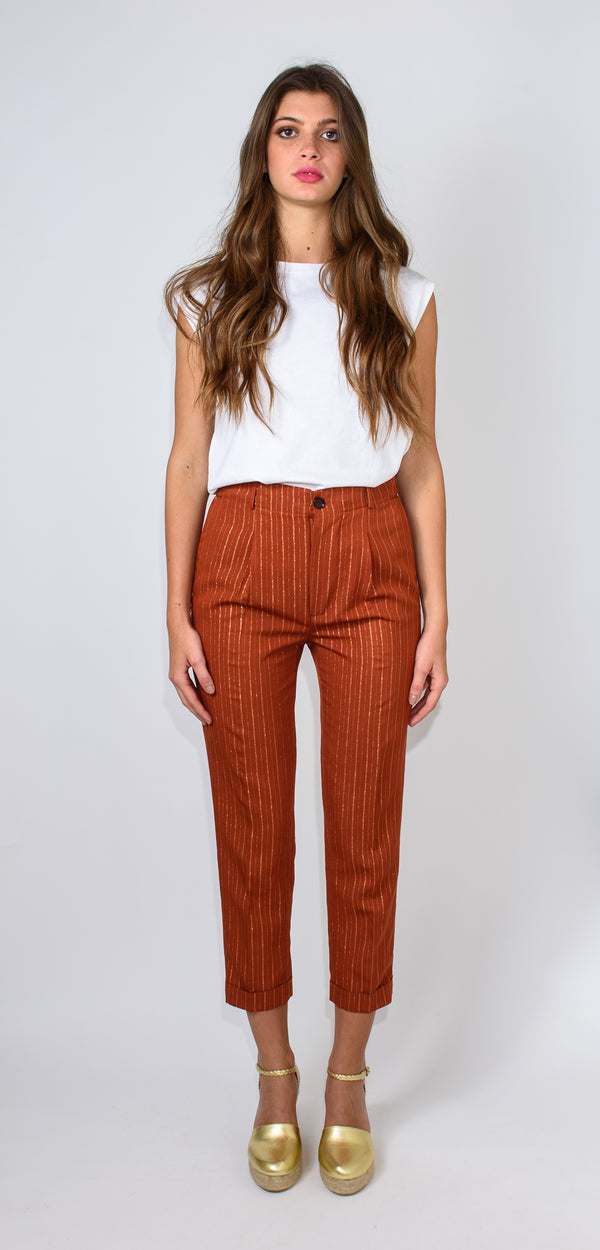 BRERAS MILANO TROUSERS - striped rust-colored high-waisted
