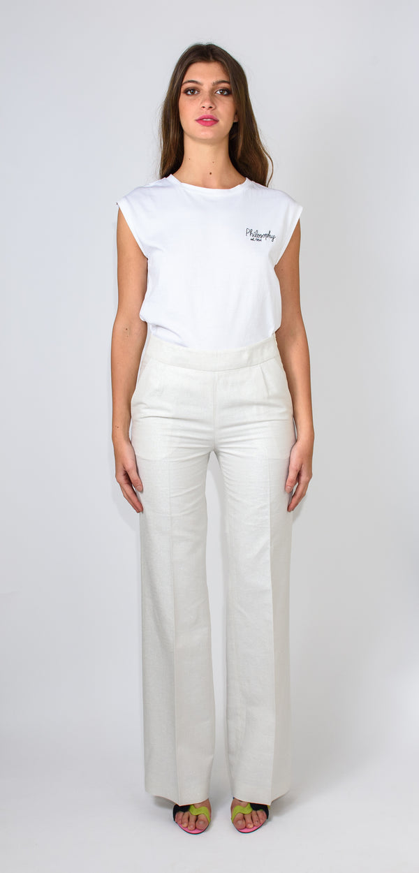 BRERAS MILANO HIGH-WAISTED WHITE TROUSERS - with silver micro glitter