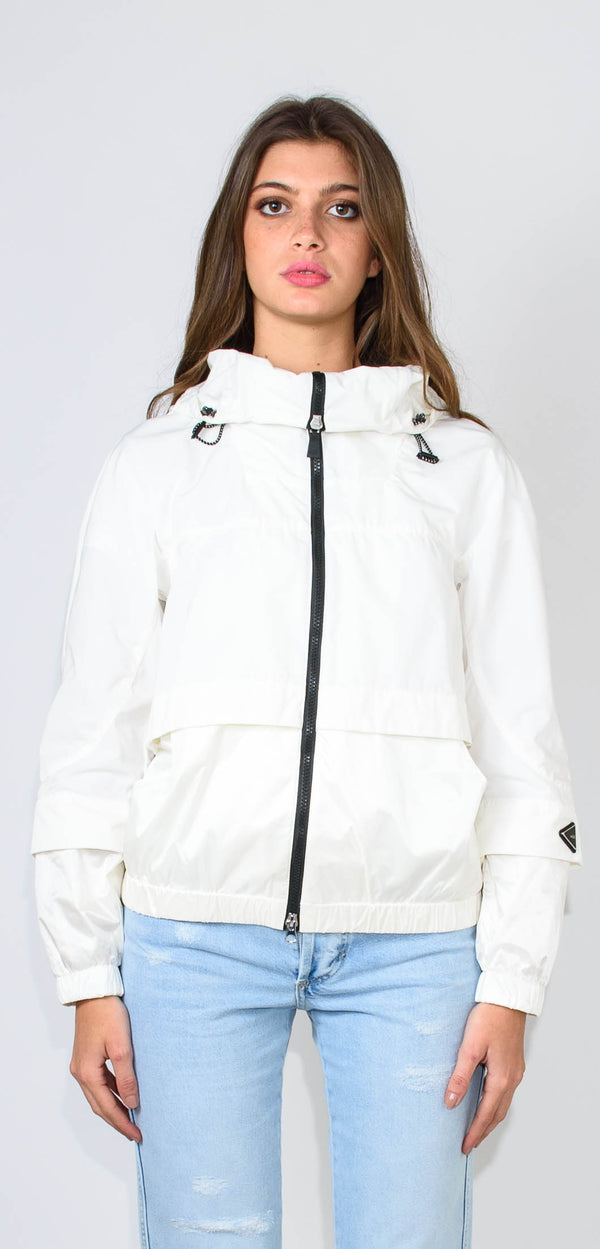 ADD WHITE JACKET - with hood and high collar