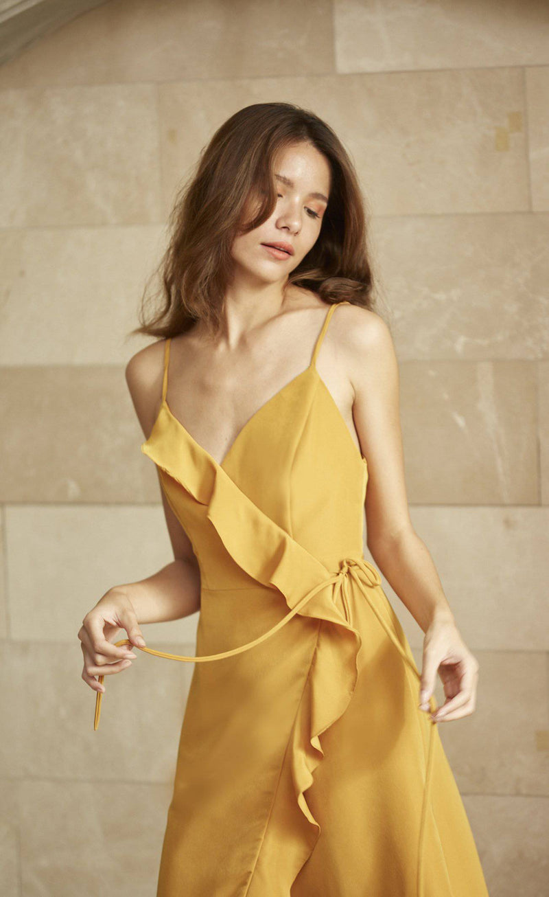 Baby Wrap Dress - Mustard Yellow-Dress-MISS MODERN-MISS MODERN