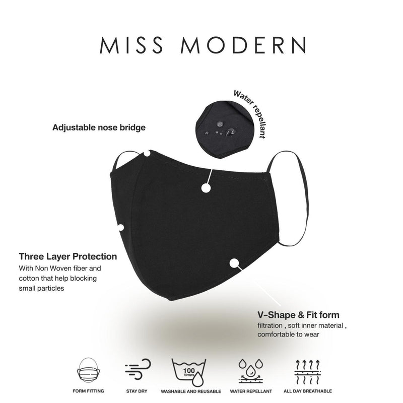 Cotton Mask - Black (3pcs)-mask-MISS MODERN-Black-MISS MODERN