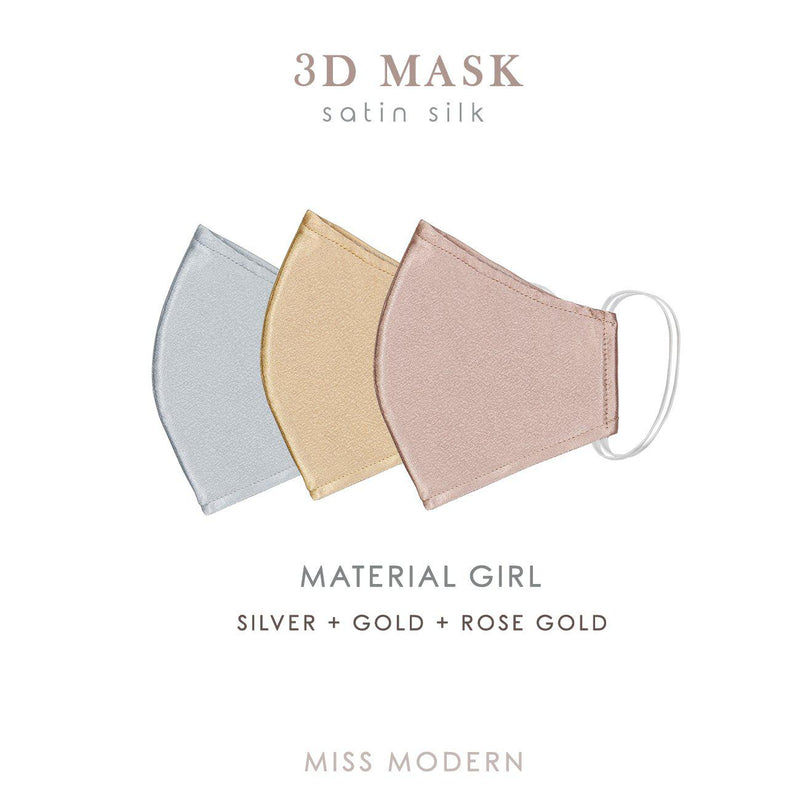 Fabric Mask - Material Girl set (3pcs)-mask-MISS MODERN-Gold , Rosegold, Silver-MISS MODERN