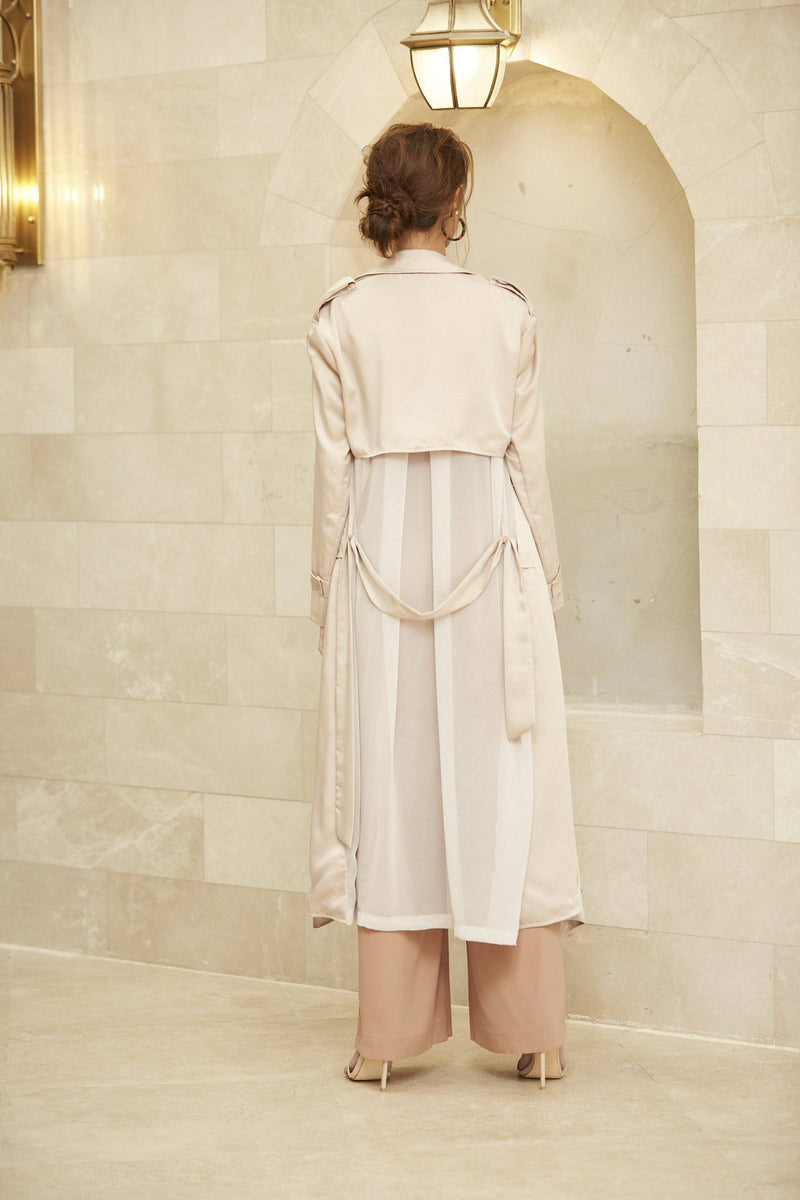 Kyra Sheer Silk Trenchcoat - White-outer-MISS MODERN-FREESIZE-Beige-MISS MODERN