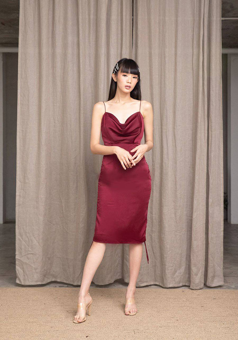MEET ME HALF WAY DRESS - Burgundy Red-Dress-MISS MODERN-MISS MODERN
