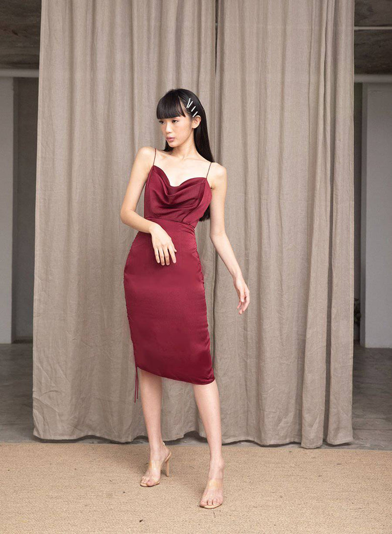 MEET ME HALF WAY DRESS- NAVY-Dress-MISS MODERN-XS-Burgundy Red-MISS MODERN