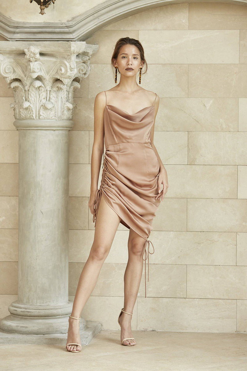 MEET ME HALF WAY DRESS- White-Dress-MISS MODERN-XS-Metallic Bronze-MISS MODERN